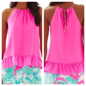 Lilly Pulitzer hot pink Millie halter with peplum